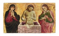 Christ as the Man of Sorrows, flanked by the Madonna and Saint John the Evangelist