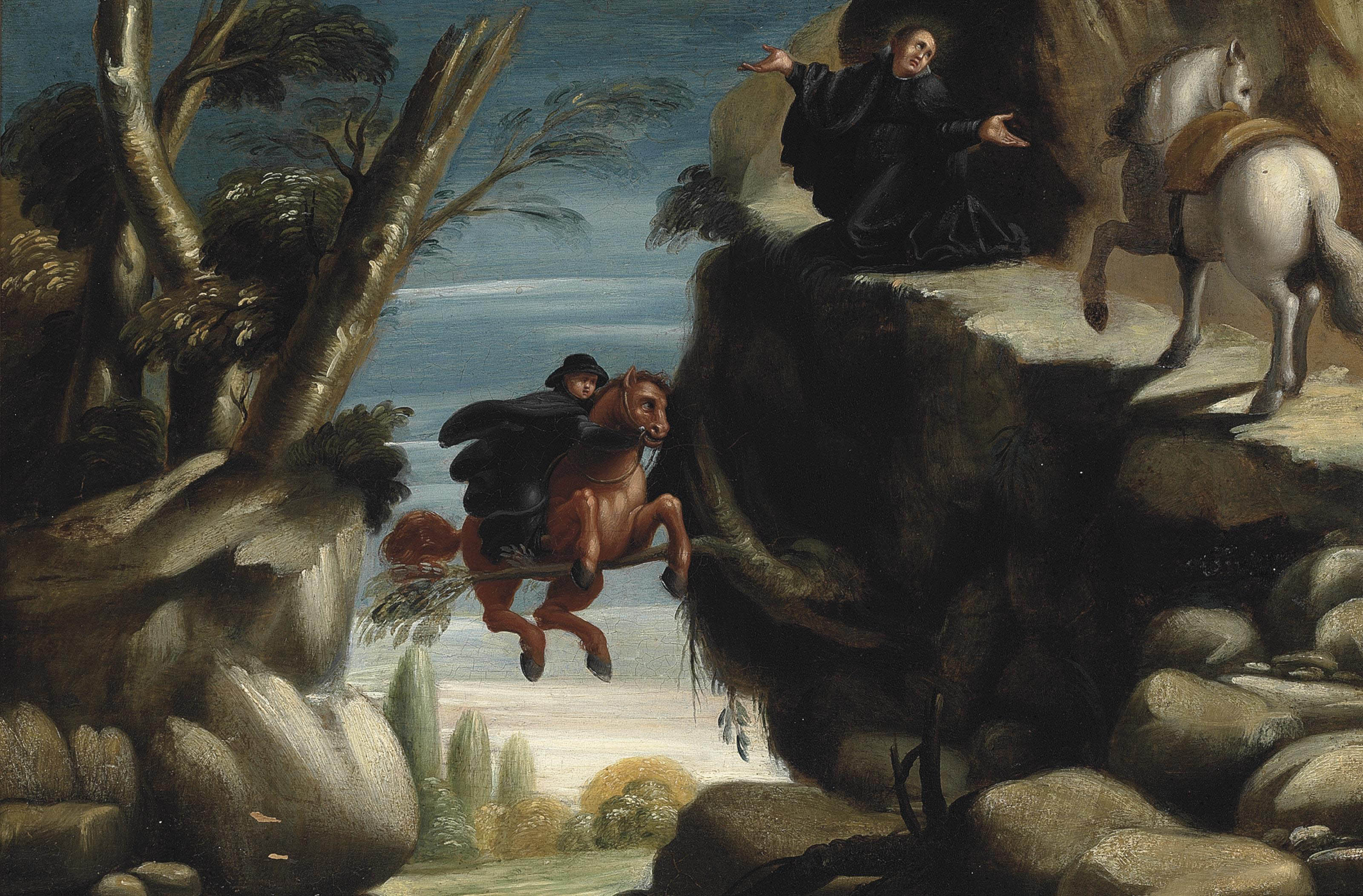 Saint Nicholas interceding and saving a rider and his horse from falling into a precipice