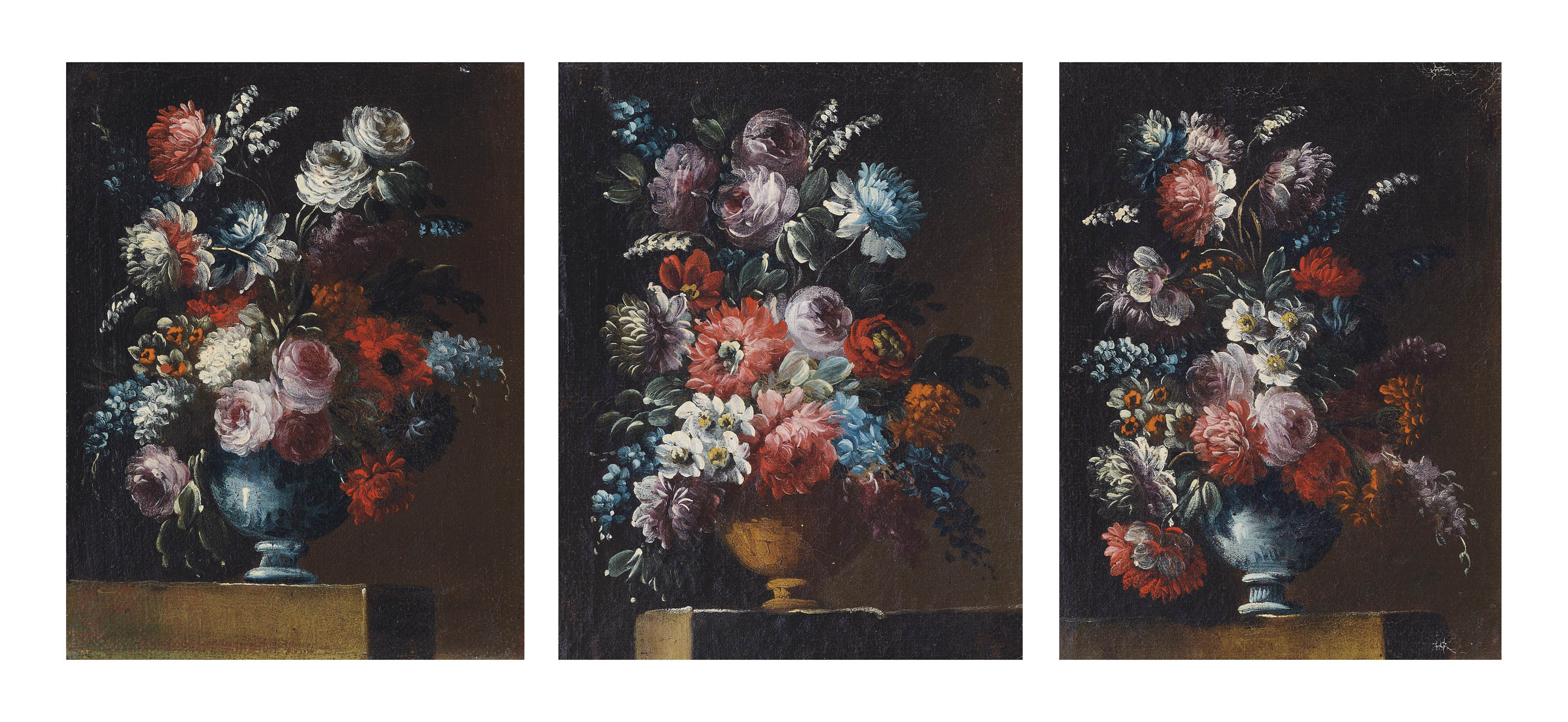 Roses, daffodils, snowdrops and other flowers in a vase on a stone ledge; Roses, snowdrops, hyacinths and other flowers in a blue vase on a stone ledge; and A rose, chrysanthemums, narcissi and other flowers in a sculpted vase on a stone ledge
