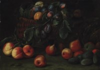Plums in a woven basket, with peaches, pears, plums and other fruit on a stone ledge
