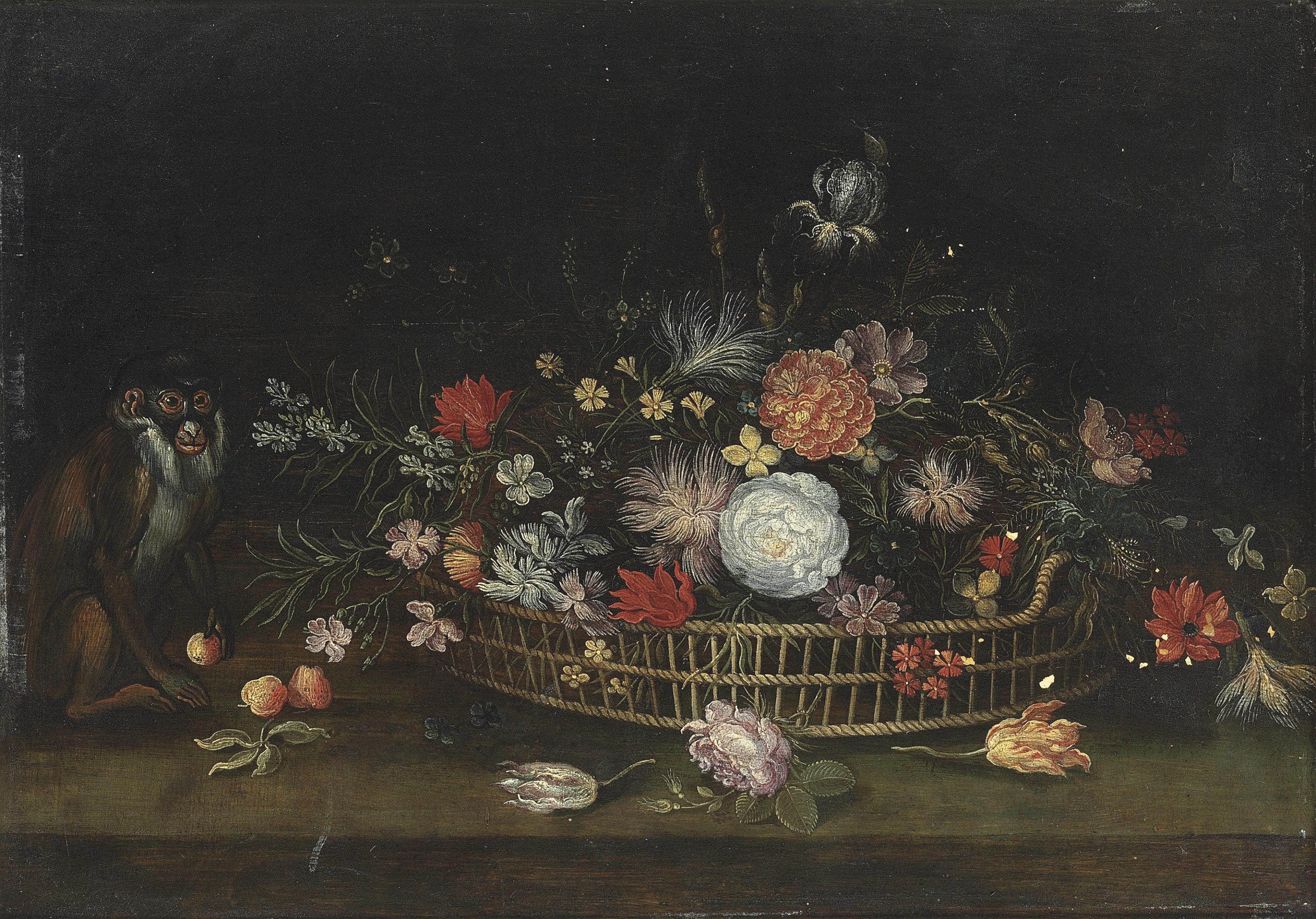 Roses, tulips, carnations and other flowers in a woven basket, and a monkey holding an apple, on a stone ledge
