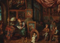 The artist's studio, with the master holding a drawing by a table, a pupil portraying a musician, and other pupils in the background