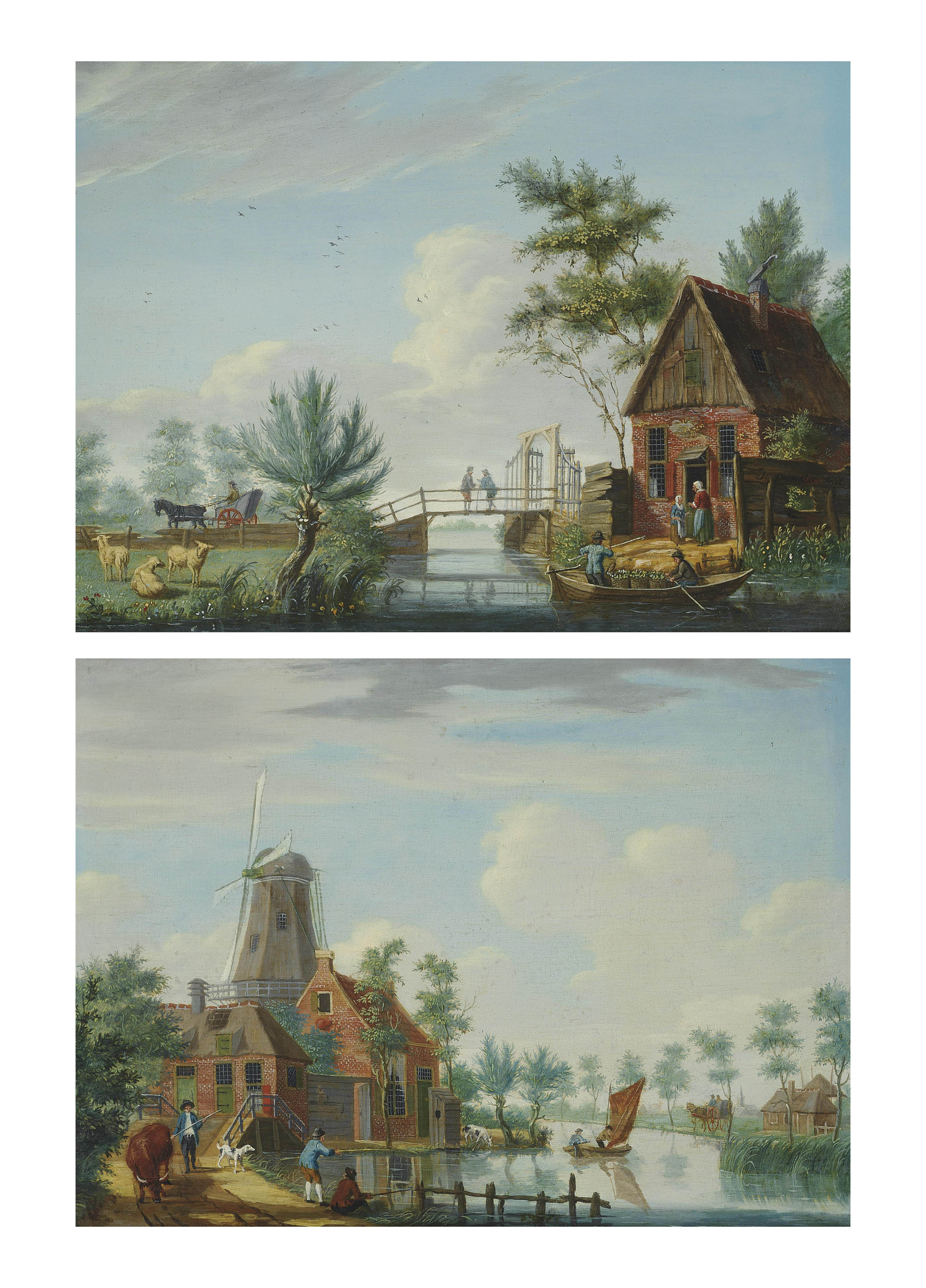 A river landscape with anglers on the shore and a windmill; and A river landscape with anglers in a boat and figures on a bridge