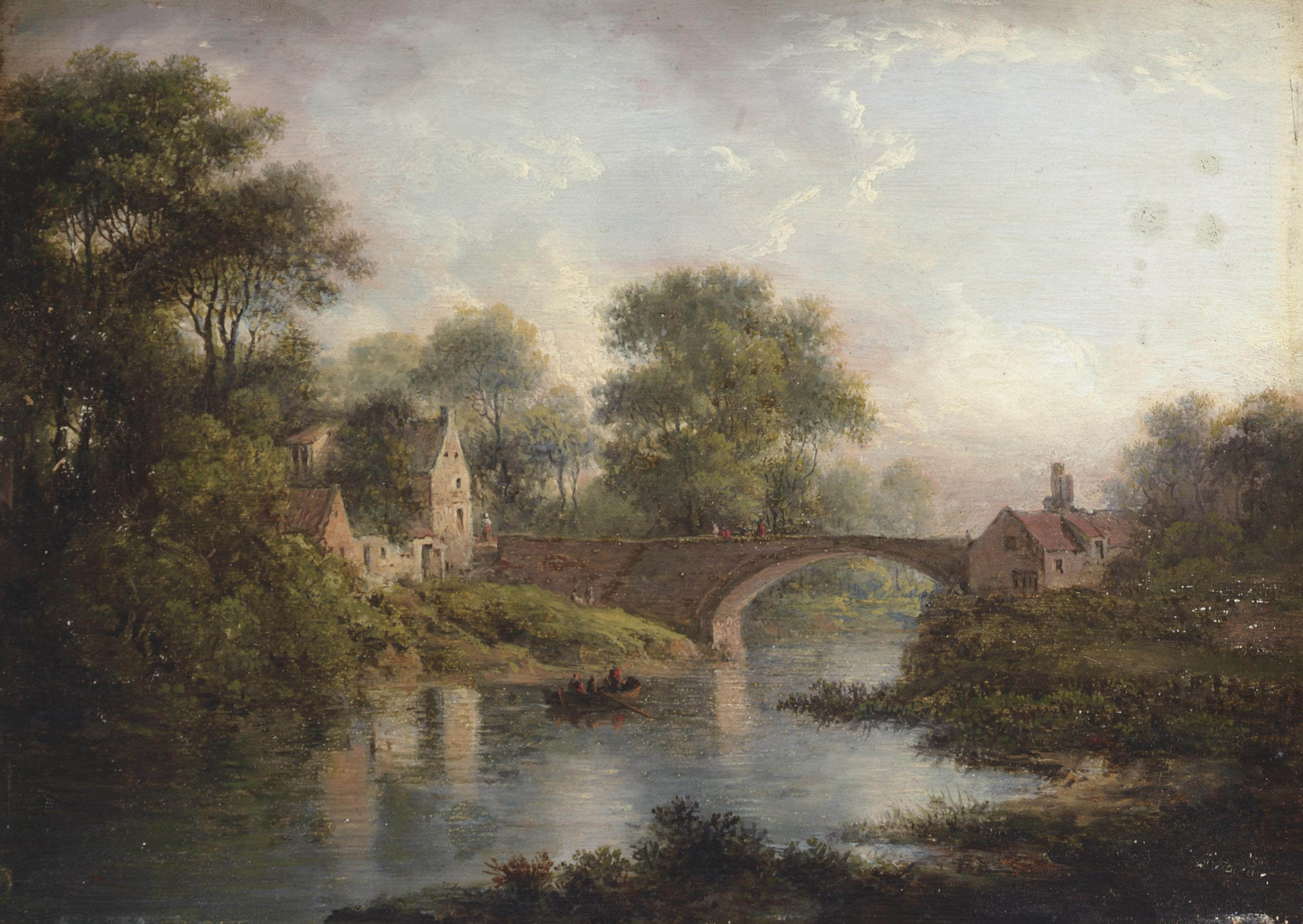 A wooded river landscape, with figures on a boat, a bridge and a village beyond
