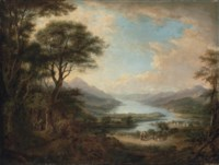 A view of Loch Tay, from the West, at Killin, with travellers on a path and a village beyond