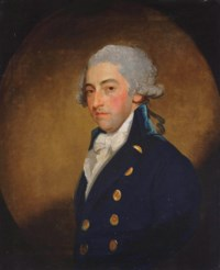 Portrait of a gentleman, traditionally identified as William Taylor, half-length, in a blue coat and white cravat, in a feigned oval