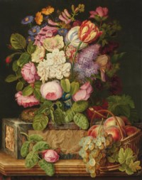Roses, tulips and other flowers on a sculpted plinth, with a nest and peaches and grapes in a wicker basket