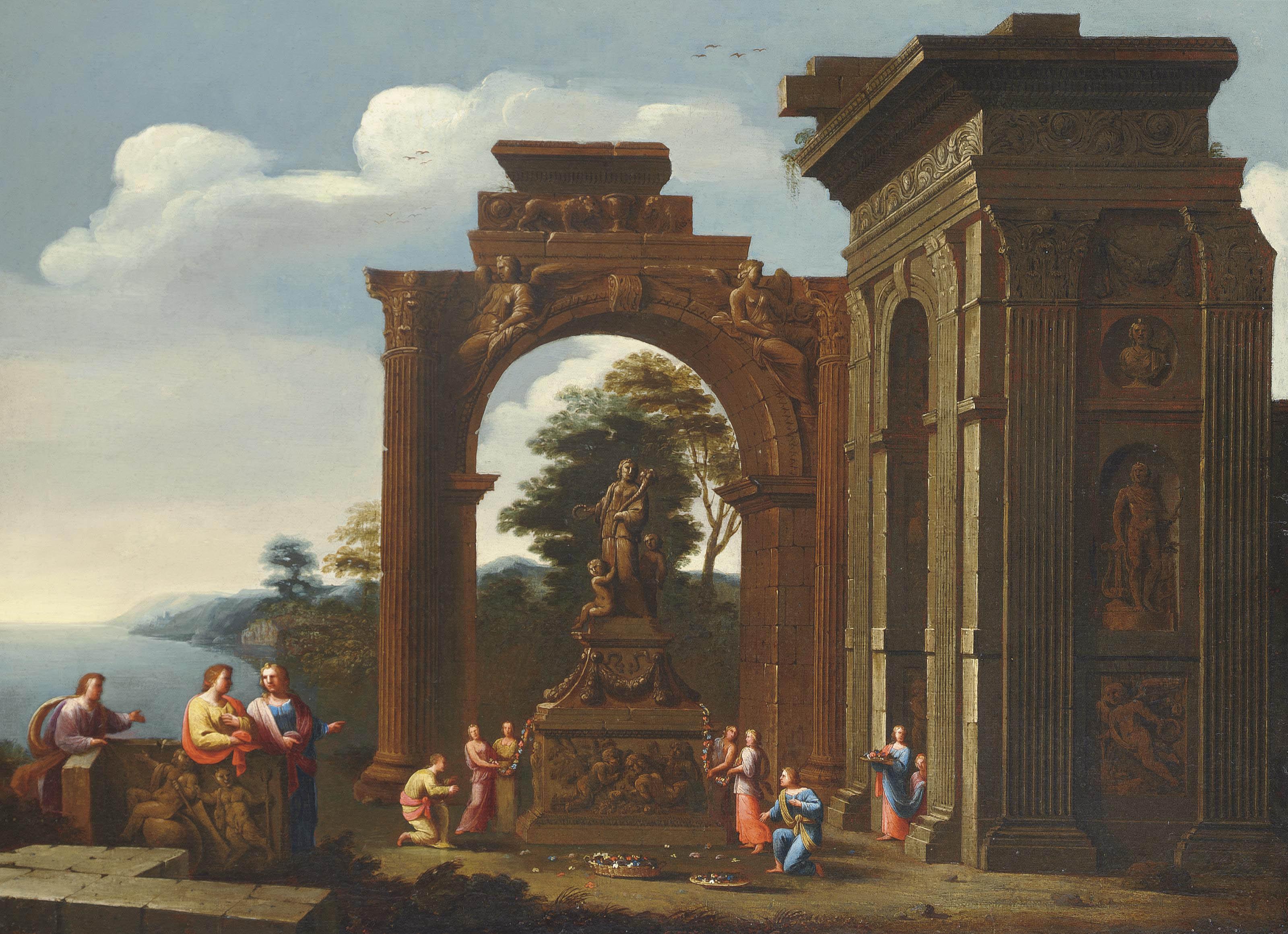 A capriccio of Roman ruins with classical figures adorning a shrine to Ceres