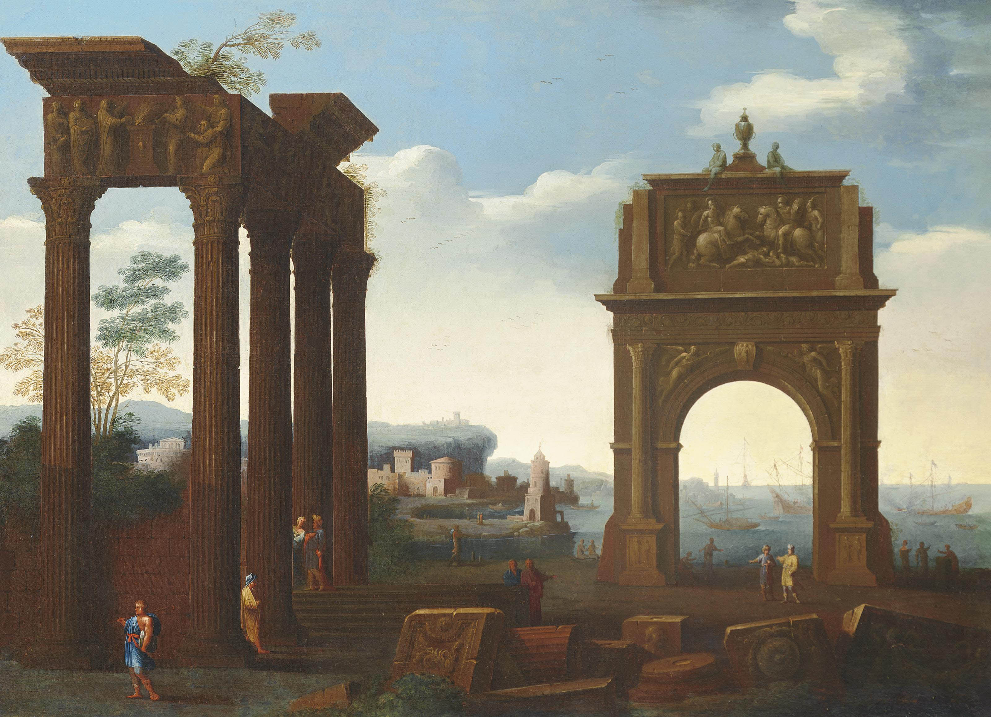 An architectural capriccio with figures among classical ruins, a harbour beyond
