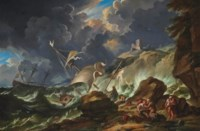 A stormy seascape with Dutch shipping being wrecked off the coast