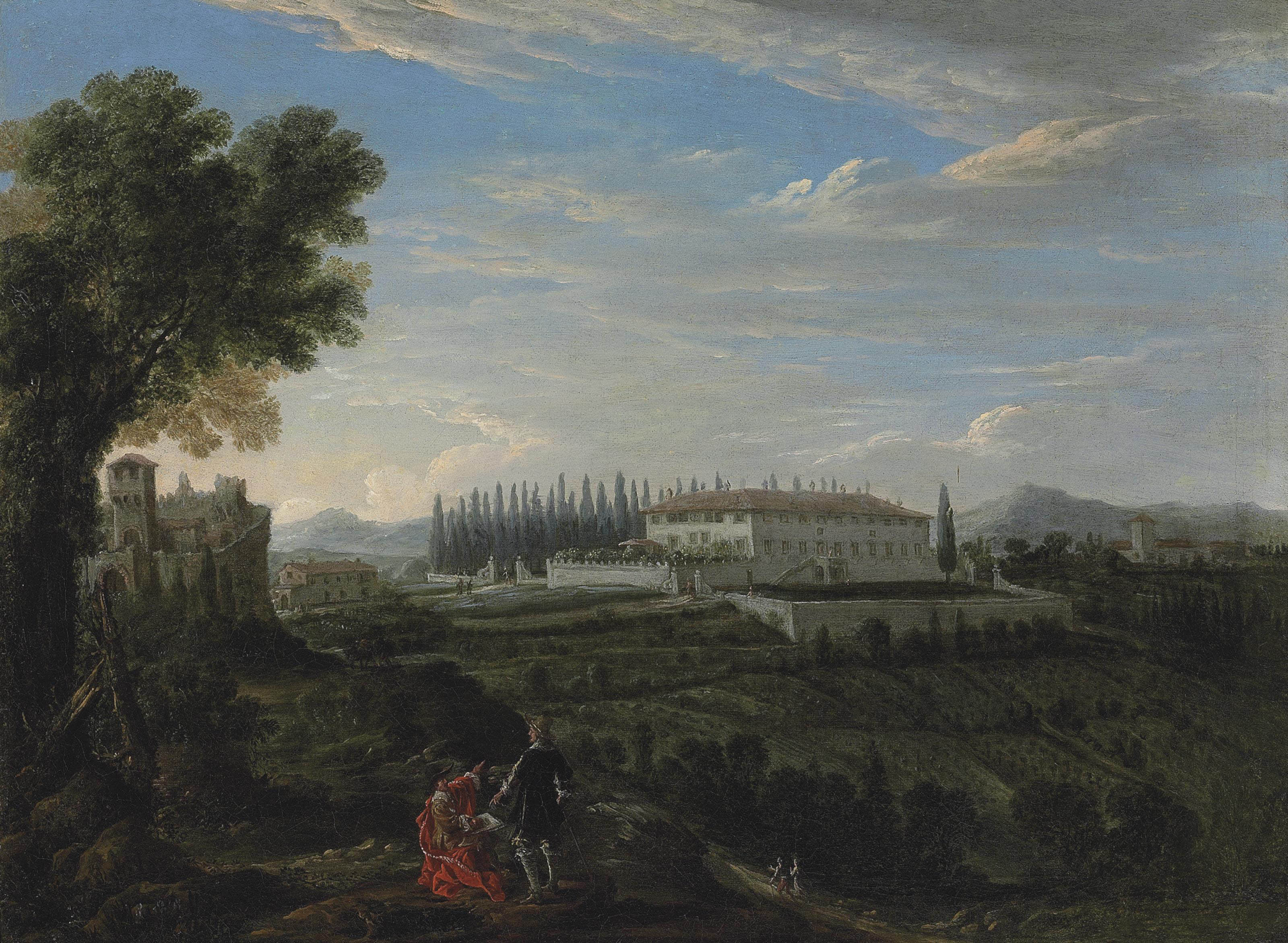 An Italianate wooded mountainous landscape with a Tuscan villa and a fortress, an artist sketching in the foreground, a church and mountains beyond