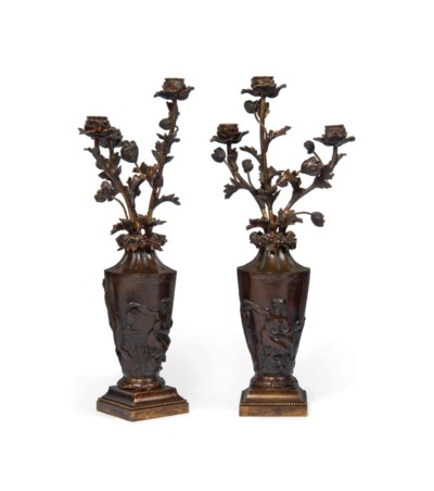 A PAIR OF FRENCH BRONZE THREE-