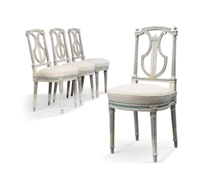 A SET OF FOUR FRENCH WHITE AND