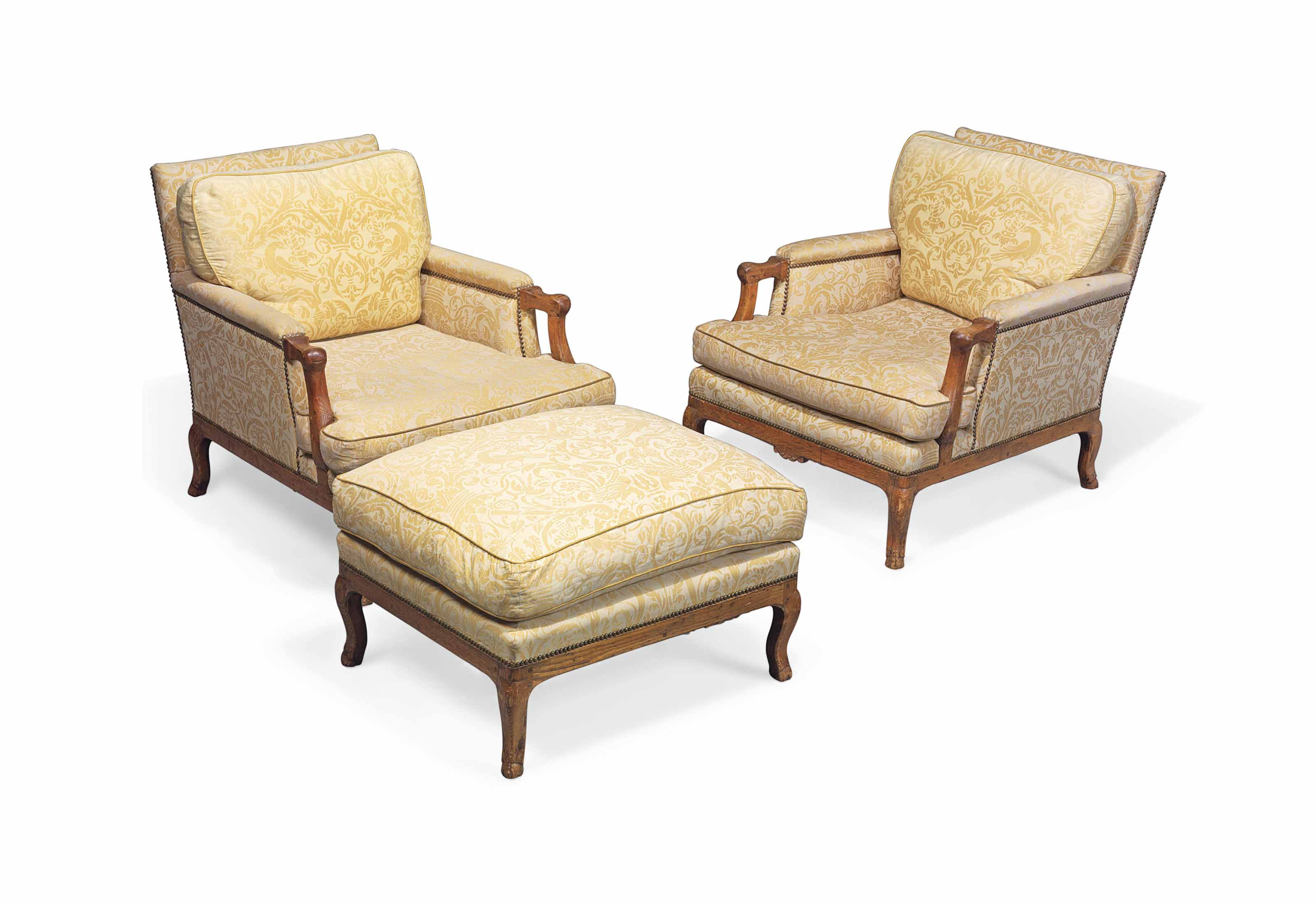 A PAIR OF ASH EASY ARMCHAIRS A
