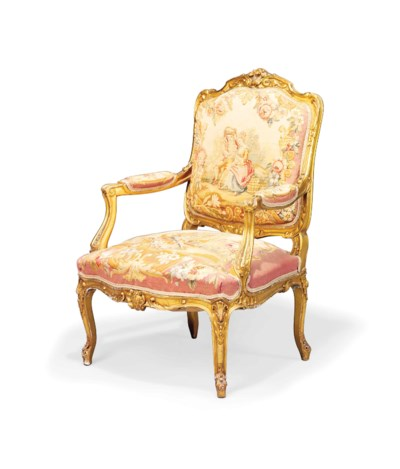 A FRENCH GILTWOOD AND BEAUVAIS