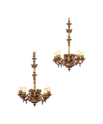 A PAIR OF SMALL FRENCH GILT-BR