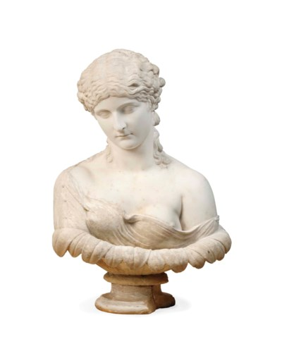 A WHITE MARBLE BUST OF CLYTIE