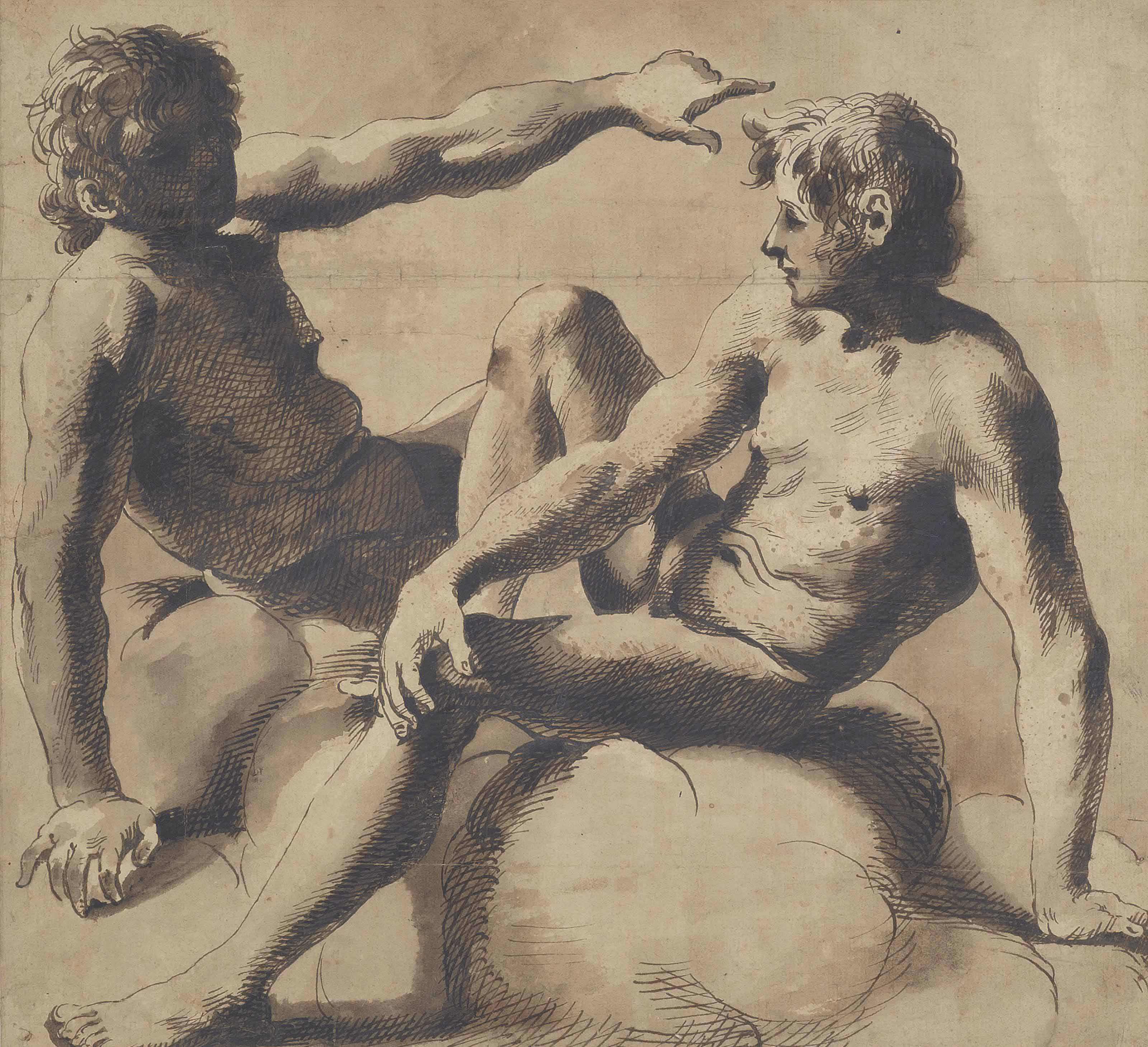 Two seated male nudes