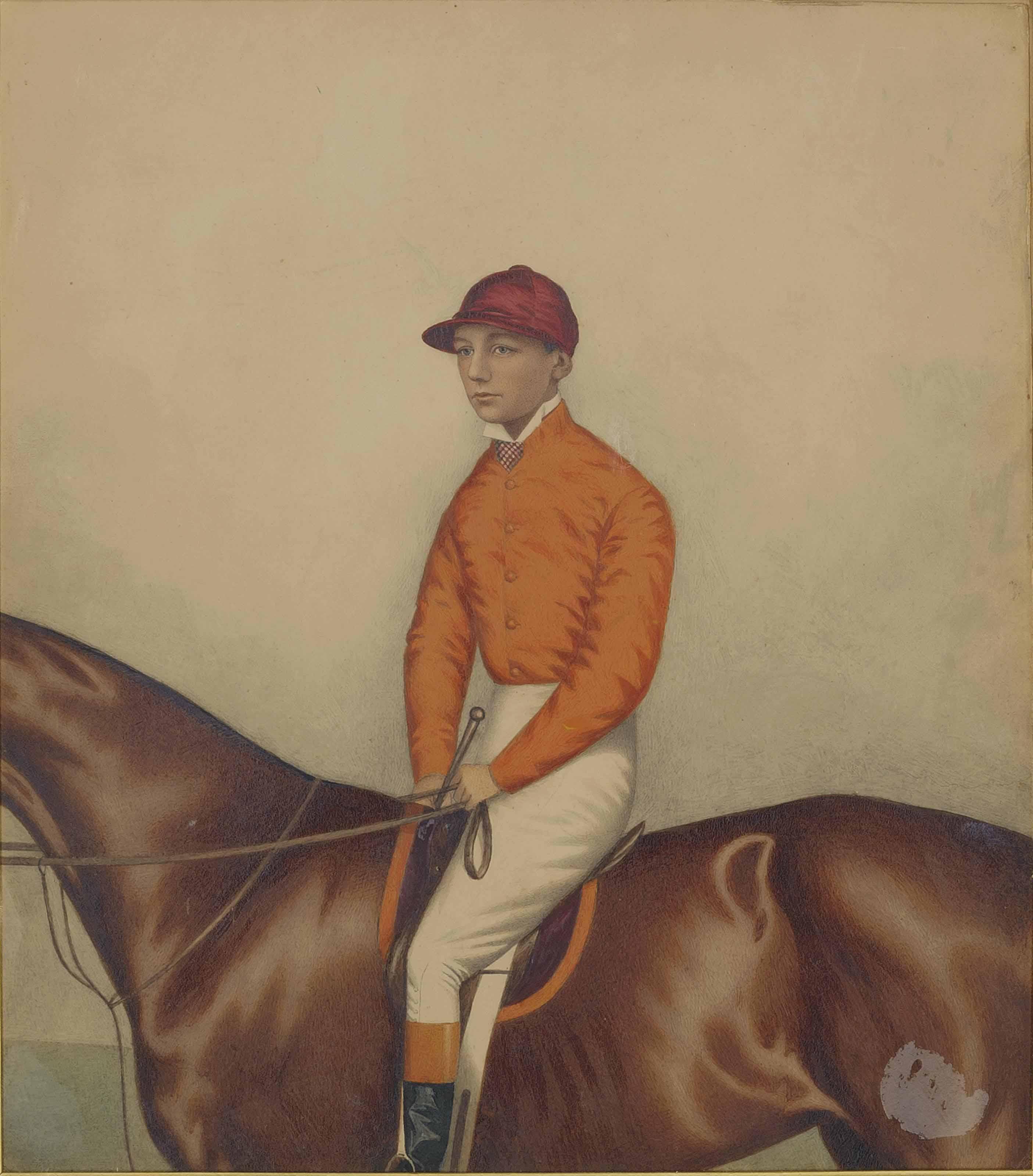 N. Robinson on horseback; and The jockey Finlay on a bay racehorse