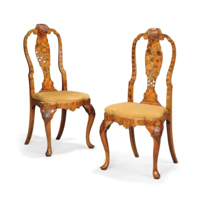 A PAIR OF DUTCH WALNUT, MARQUE