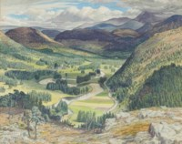 Extensive highland landscape with deer in the foreground