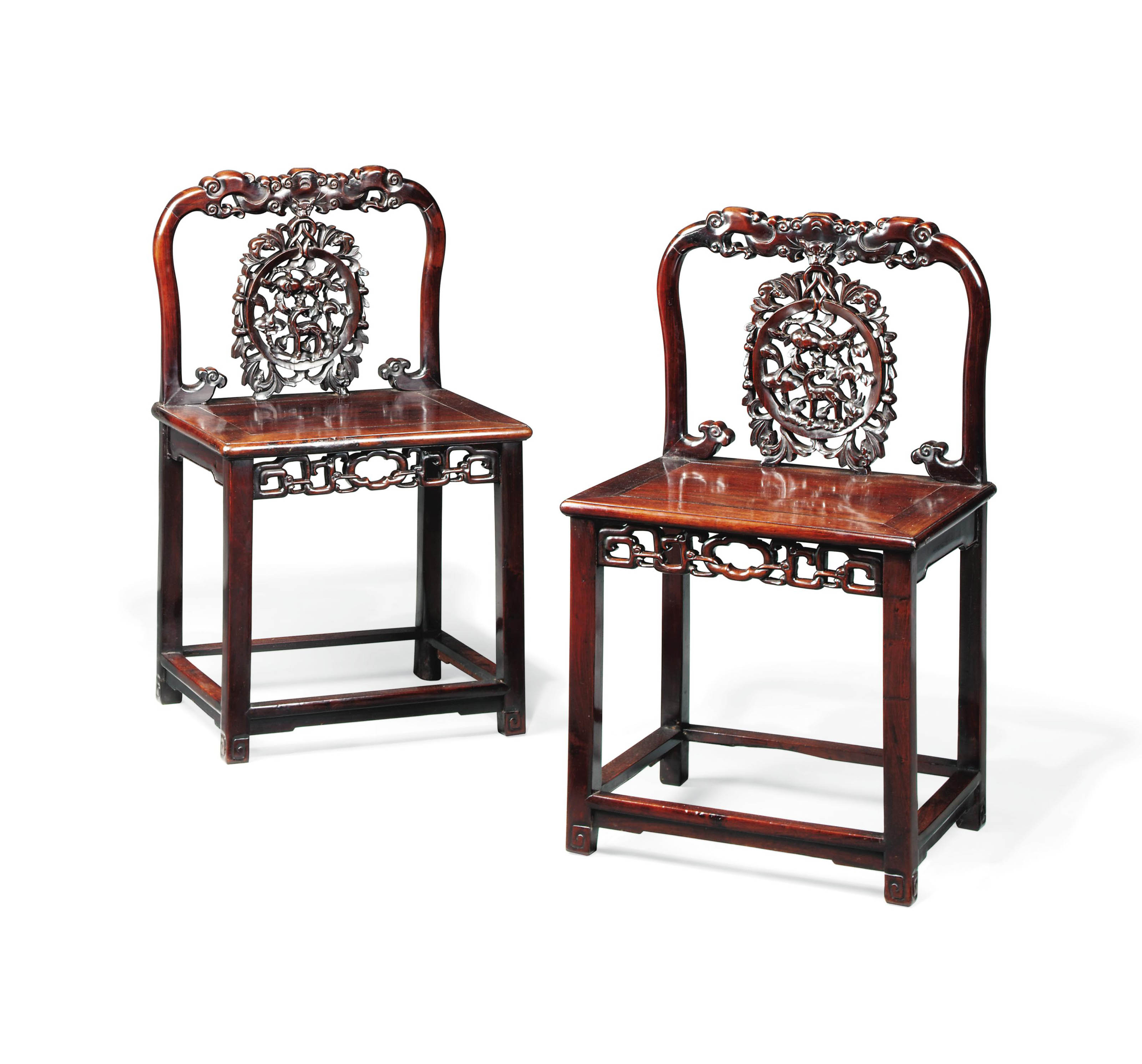 A pair of chinese hong mu side chairs 19th century for Asian furniture uk