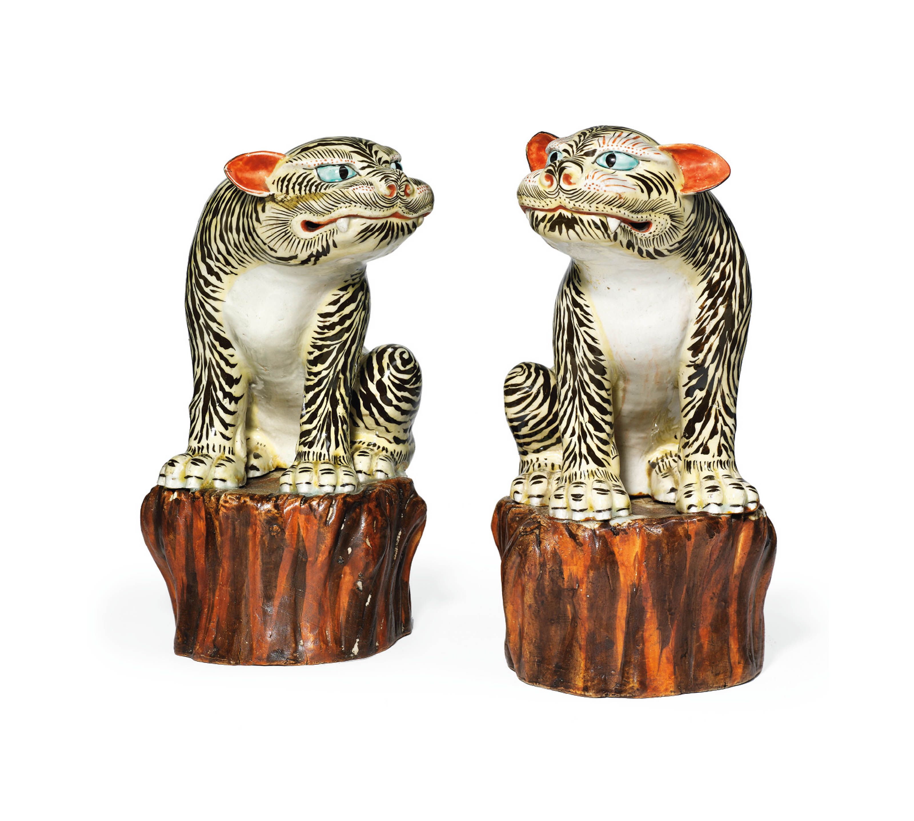 A Rare Pair of Kakiemon Models of Tigers