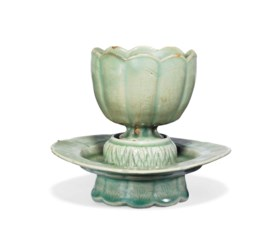 A Celadon Stoneware Cup and Stand