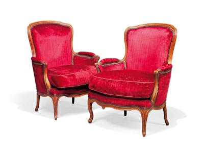 A PAIR OF LOUIS XV BEECH BERGE
