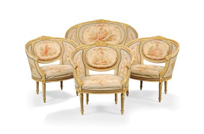 A FRENCH PARCEL-GILT CREAM PAI