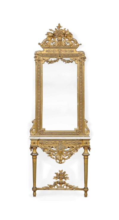 A FRENCH GILT-WOOD AND MECCA H