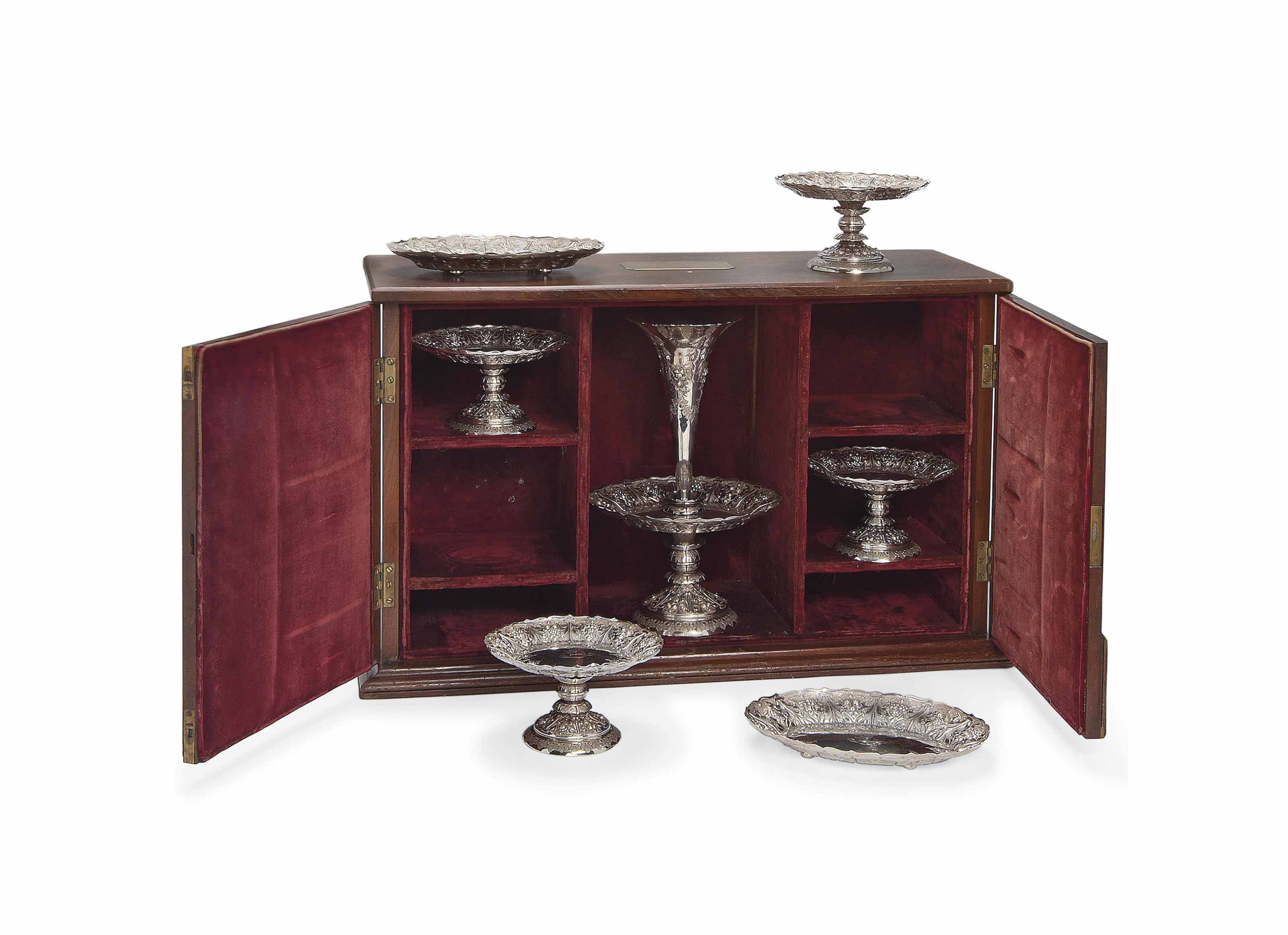 A VICTORIAN SEVEN-PIECE SILVER TABLE GARNITURE