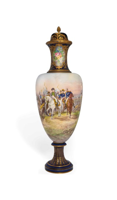 A LARGE SEVRES-STYLE VASE AND