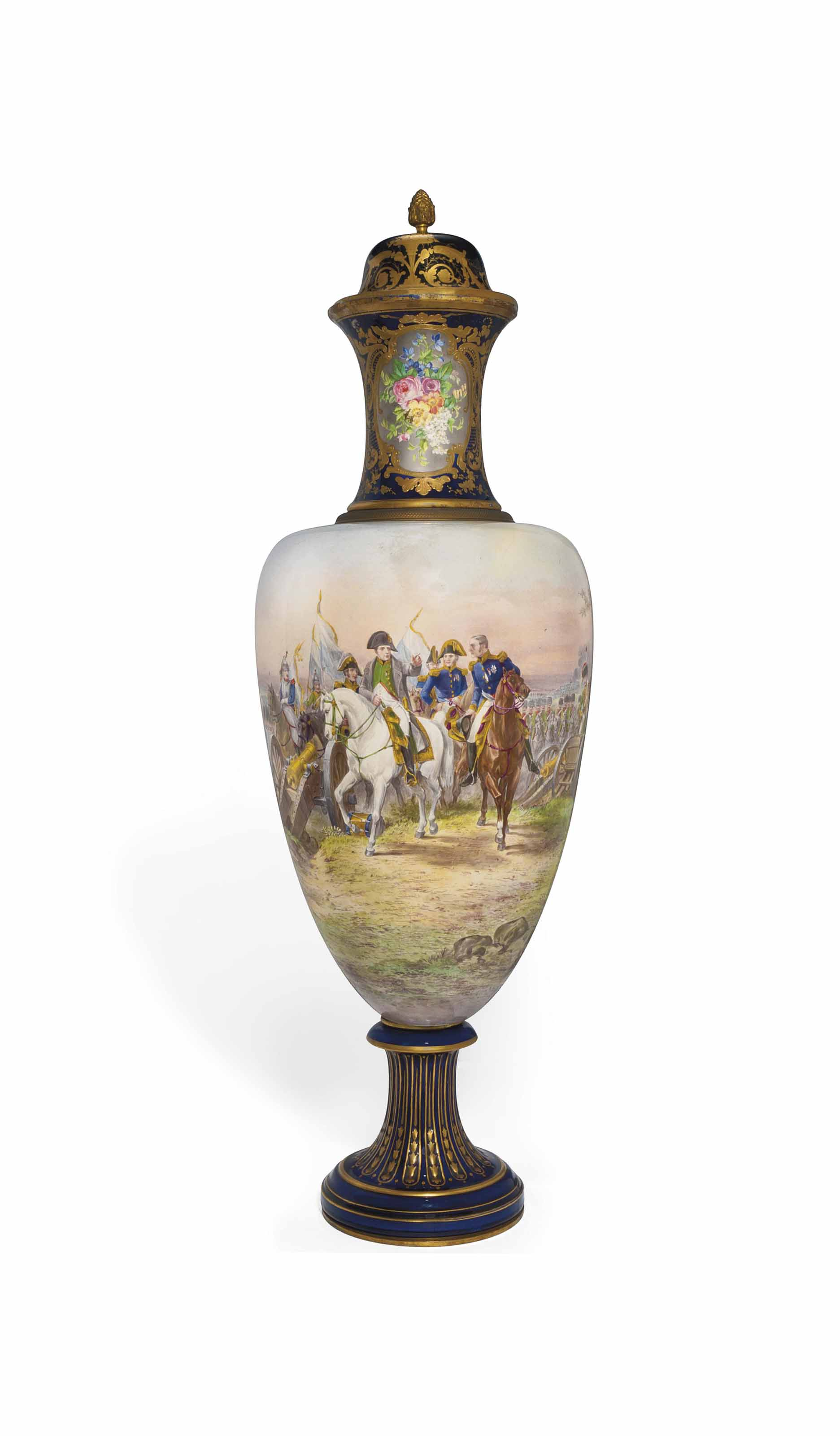 A LARGE SEVRES-STYLE VASE AND A COVER
