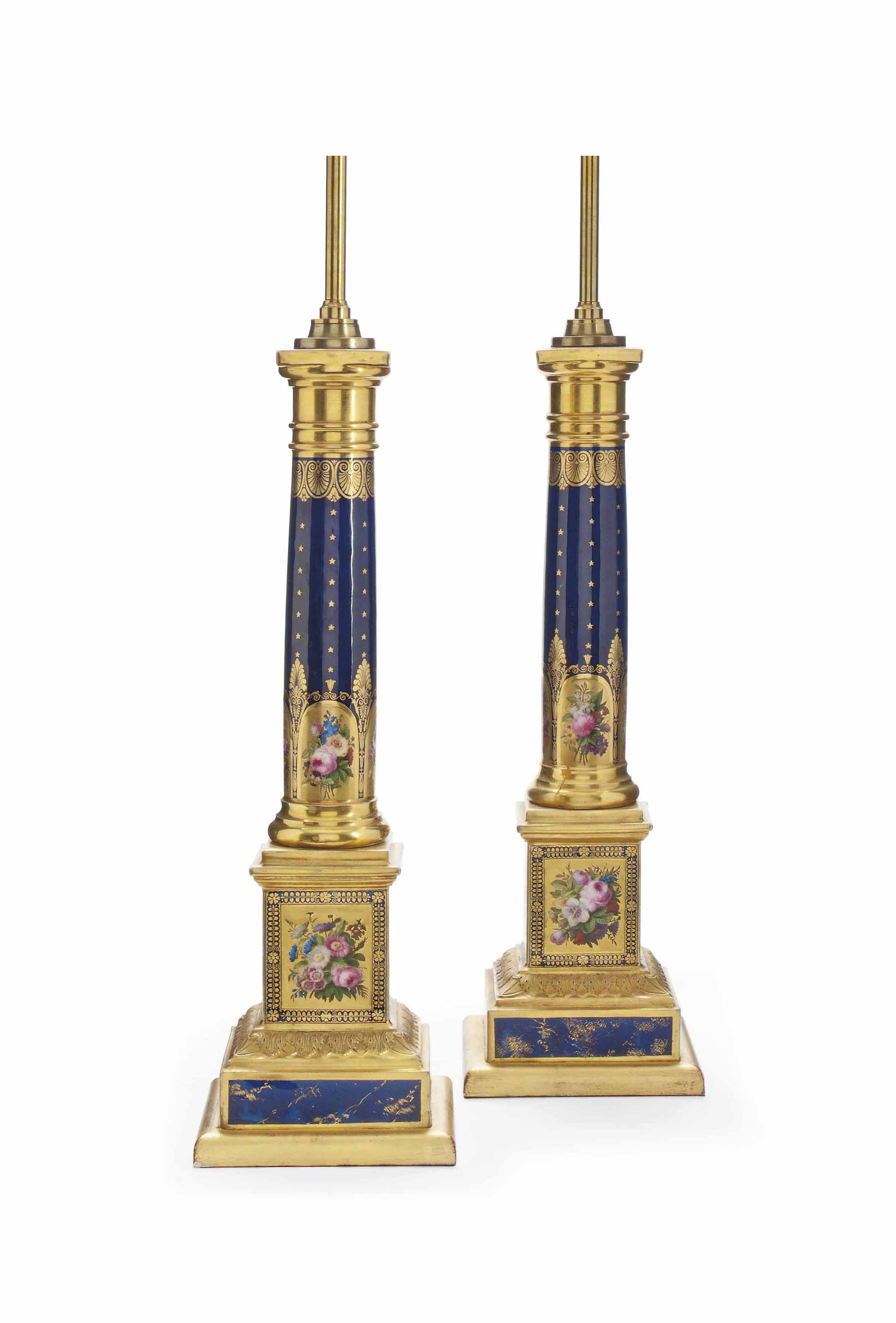 A PAIR OF FRENCH PORCELAIN DARK-BLUE-GROUND COLUMN LAMP-BASES