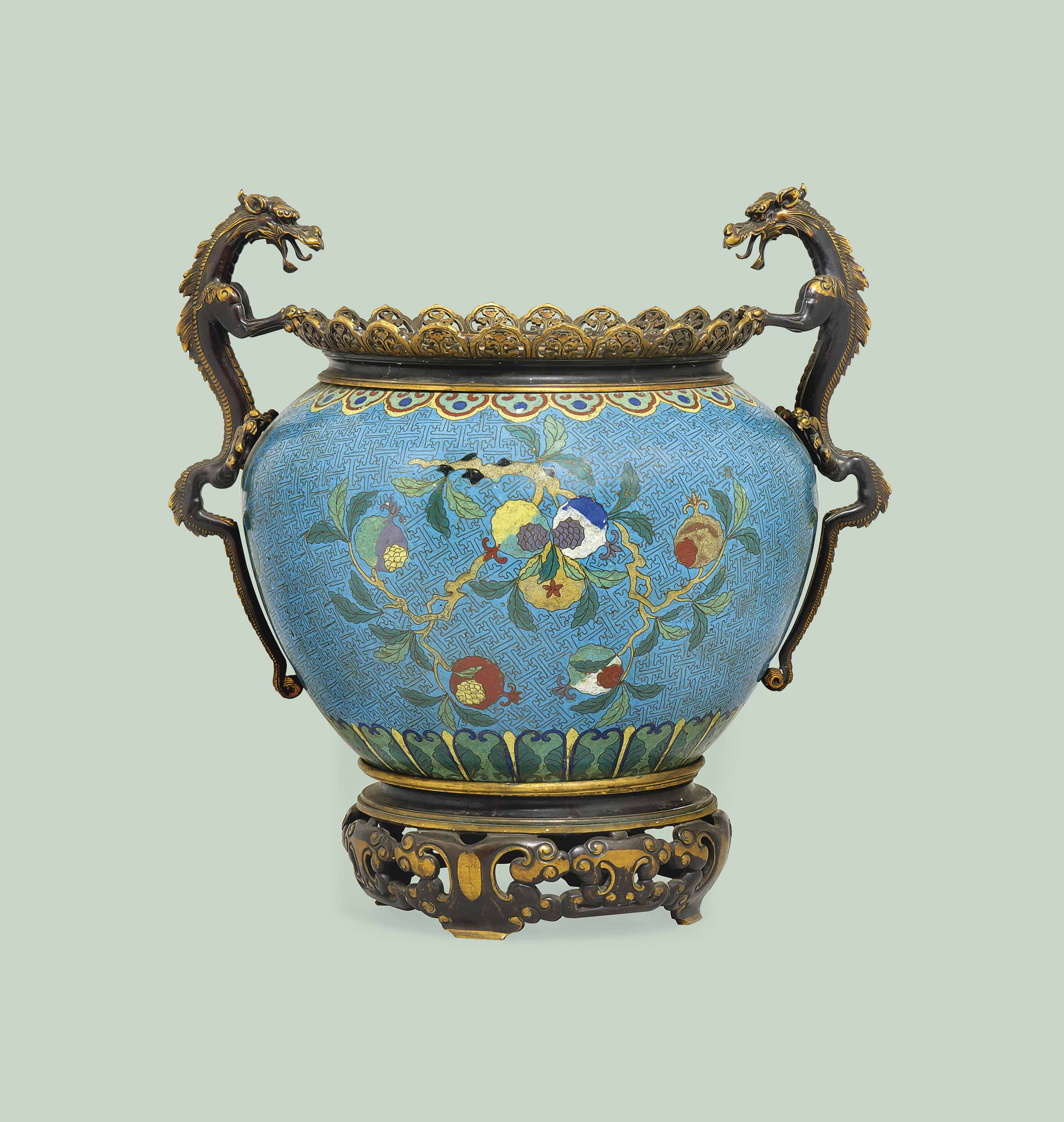 A CHINESE MOUNTED CLOISONNE JA