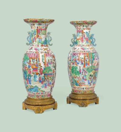 A PAIR OF CANTONESE PORCELAIN
