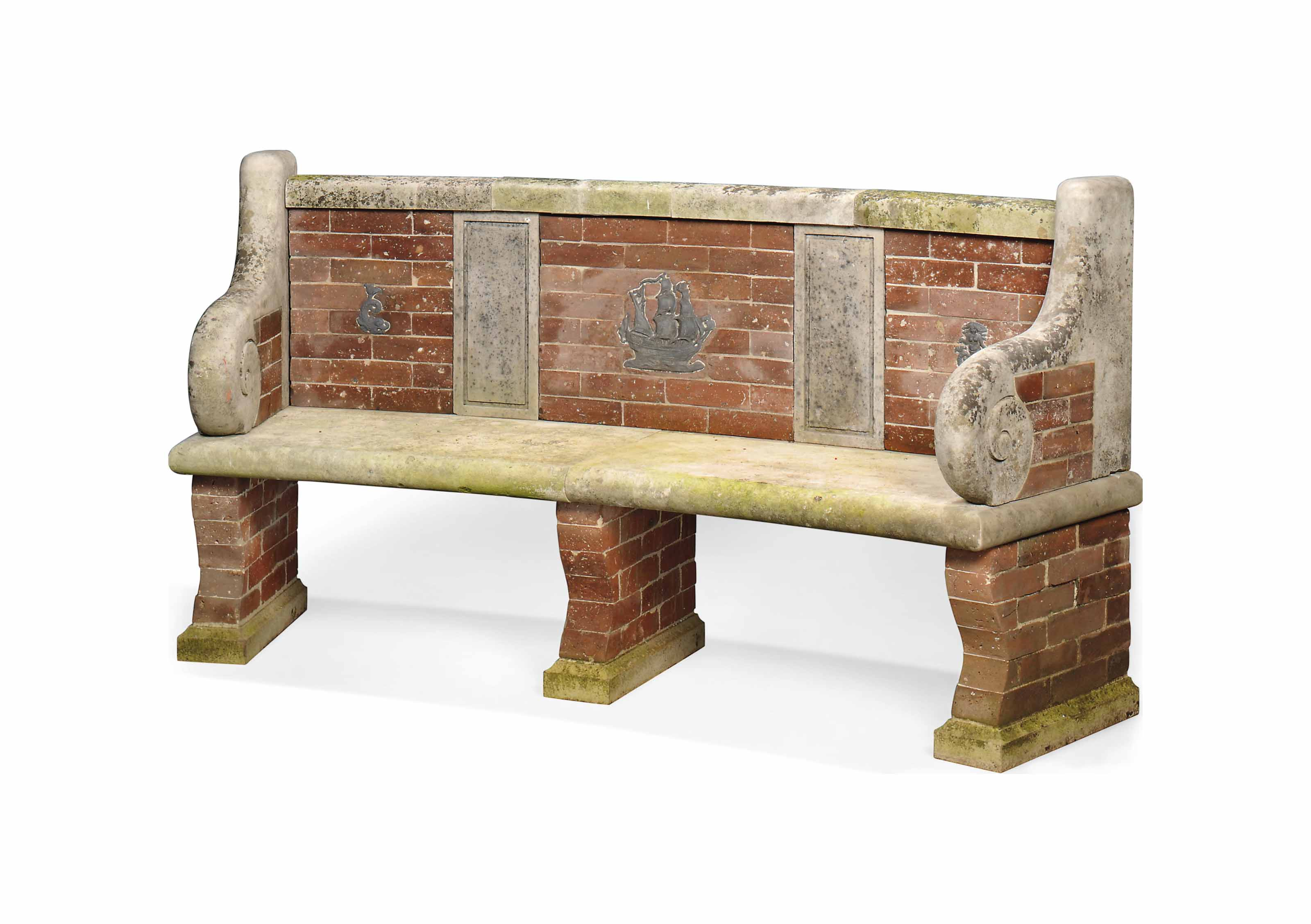 A LIMESTONE AND BRICK CURVED G