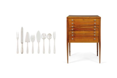 A WALNUT CANTEEN WITH CUTLERY