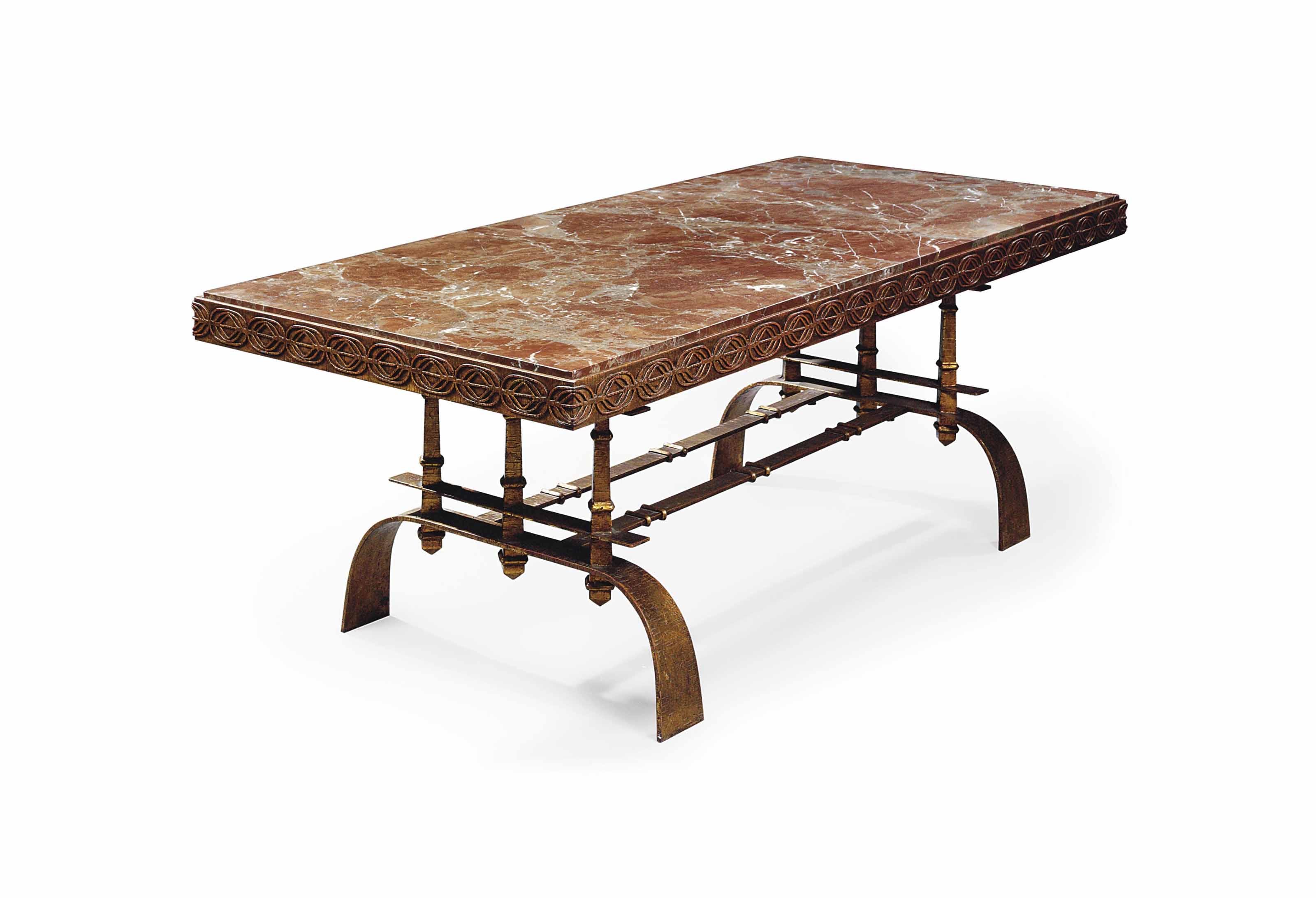 A JAMES MONT MARBLE AND WROUGHT-IRON DINING TABLE