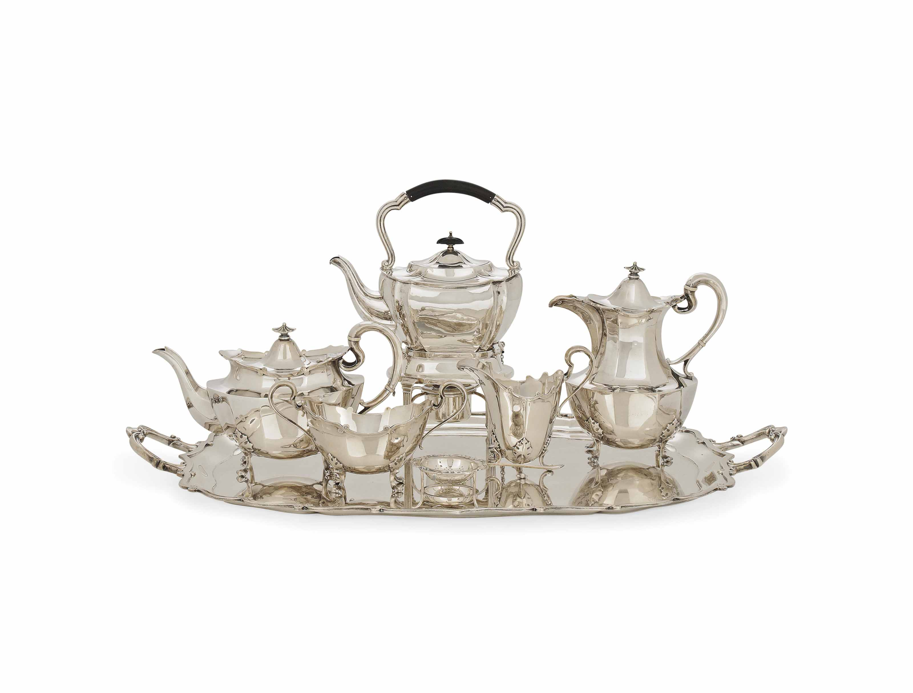 A SILVER FOUR-PIECE TEASET AND