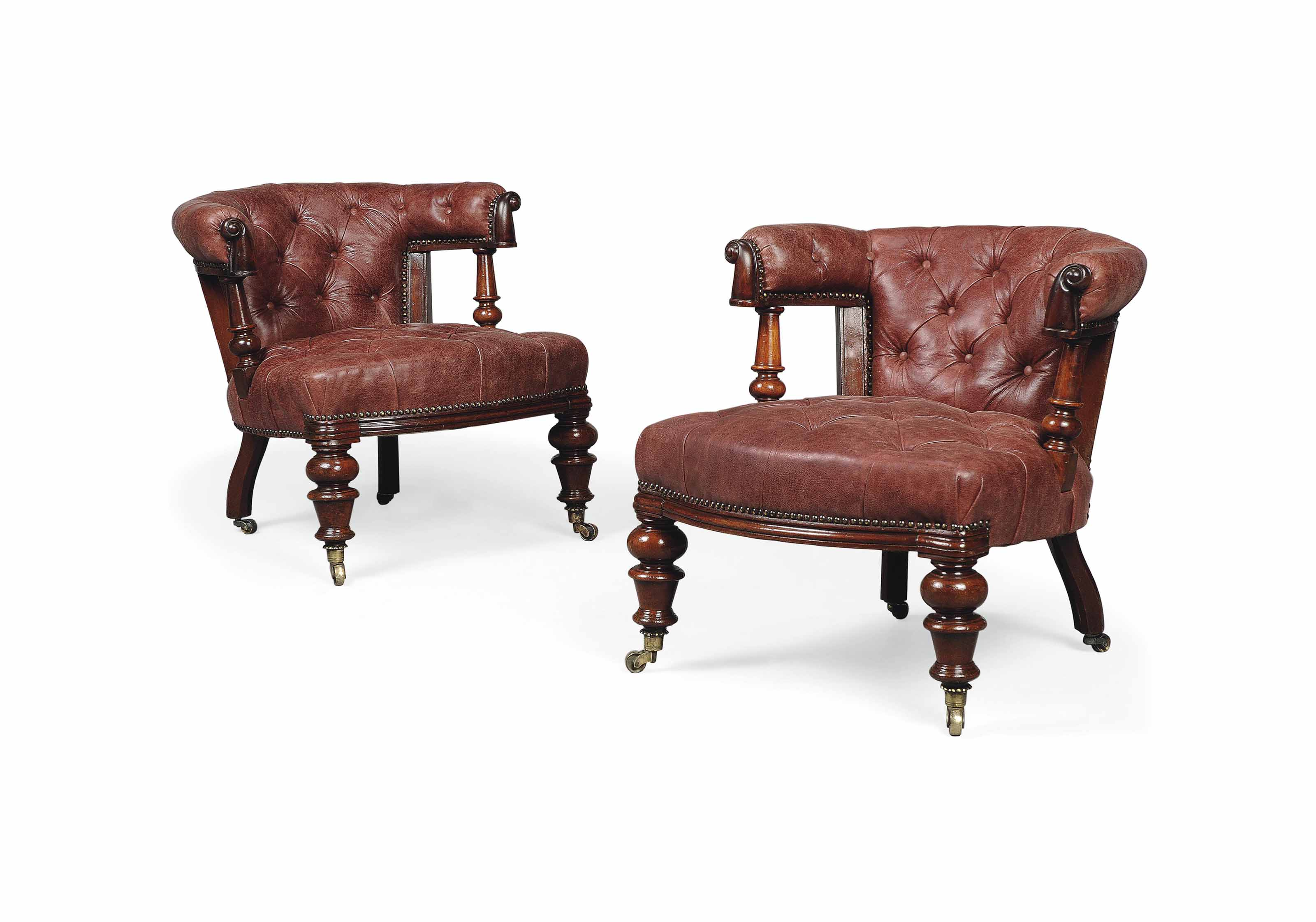 A PAIR OF MID VICTORIAN MAHOGA