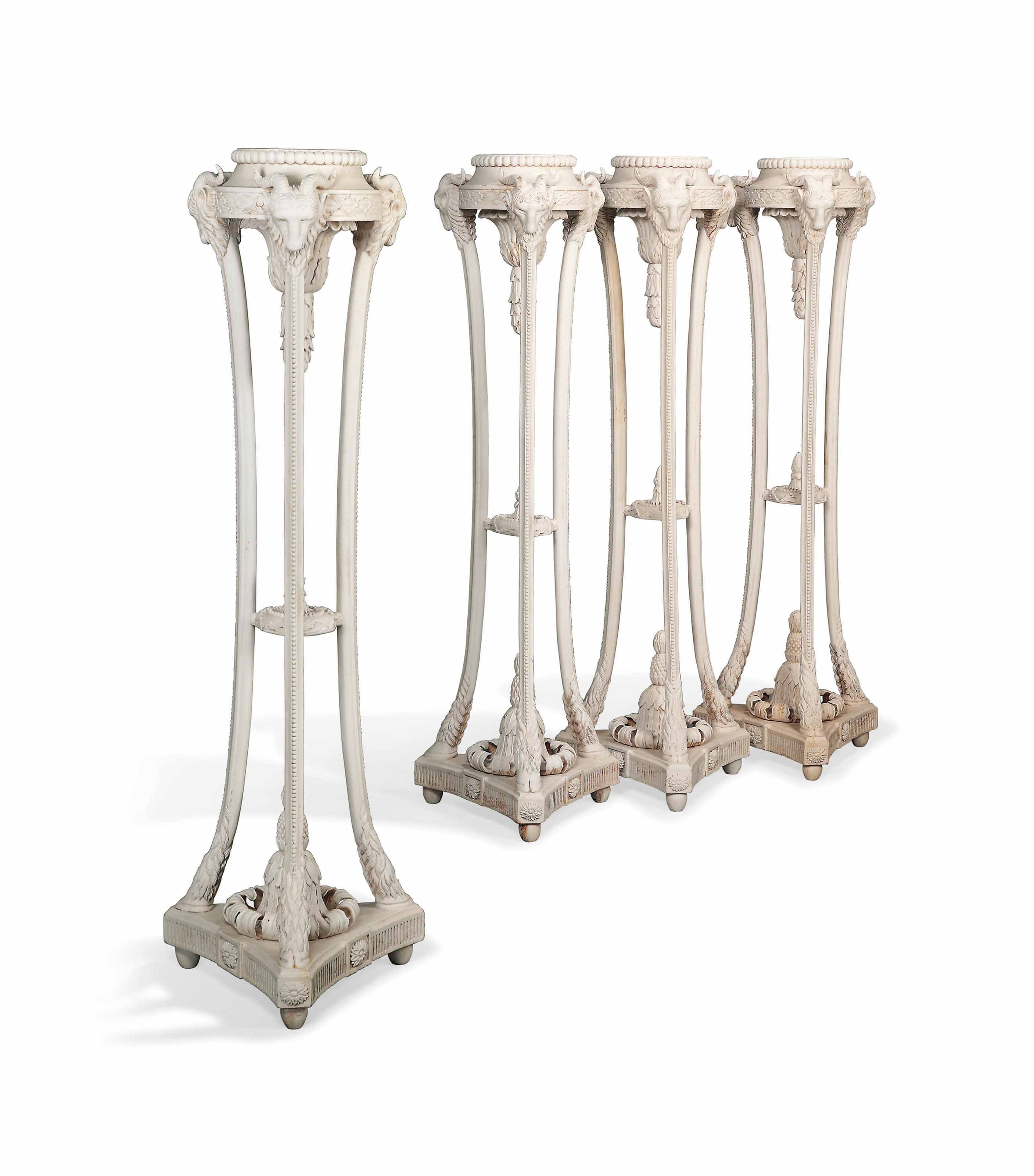 A SET OF FOUR WHITE PAINTED TO
