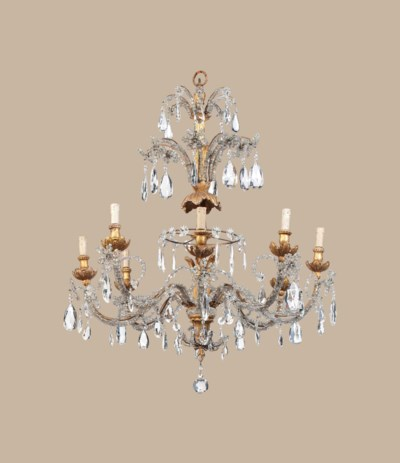 A GENOESE GILTWOOD AND GLASS E