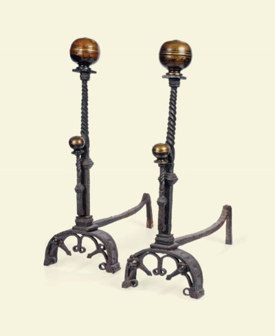 A PAIR OF ITALIAN WROUGHT IRON