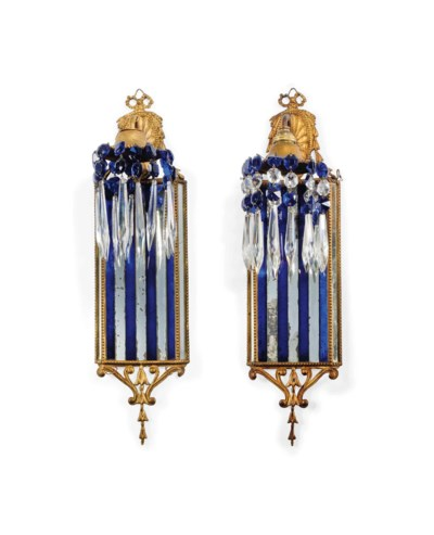 TWO PAIRS OF GILT-METAL, BLUE