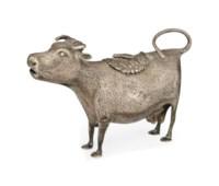 A GEORGE II SILVER COW CREAMER