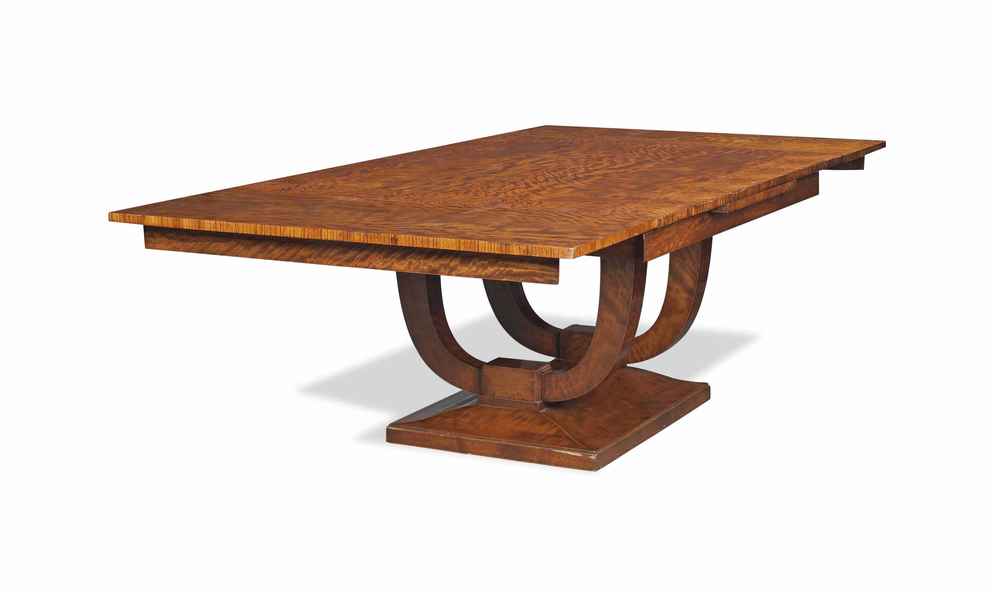 AN ART DECO SATINWOOD DINING T
