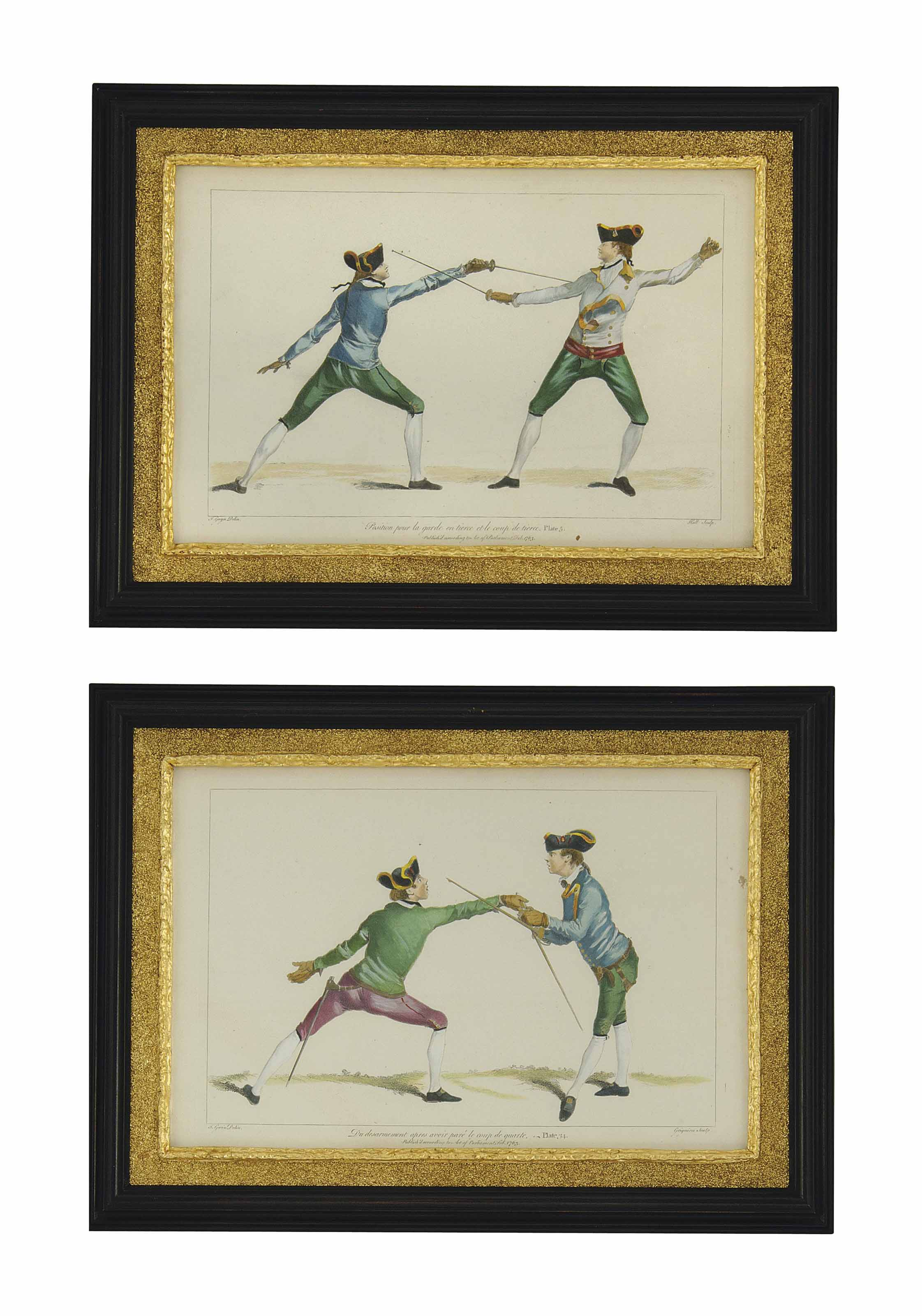 NINE HAND-COLOURED ENGRAVINGS