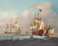 Ships of the fleet hove-to offshore awaiting the arrival of an Admiral of the Blue approaching the flagship in his barge
